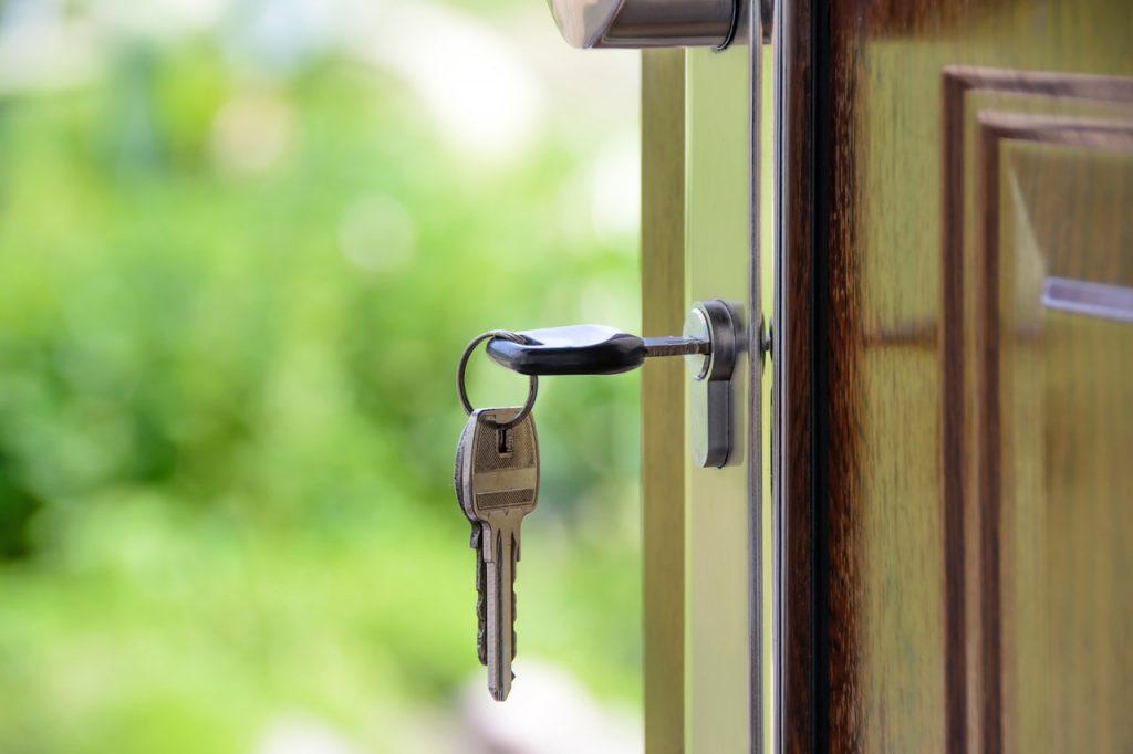 Key in a key hole door lock